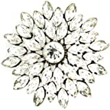 Brooches Store Large Gold and Crystal Starburst Flower Brooch Bridal