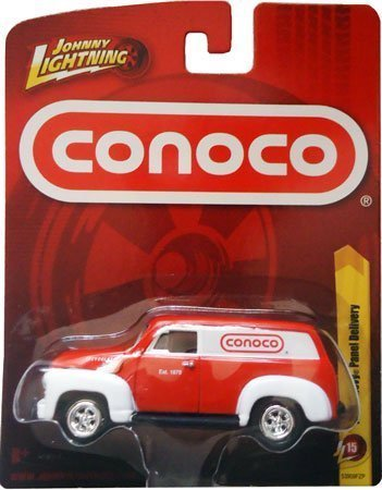 1950 Chevy Panel - 2011 Johnny Lightning 1950 CHEVY PANEL DELIVERY (Red Conoco), Release 15 diecast truck van