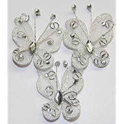 """Gift Square 2"""" Organza Butterfly Clip Wedding Favor 20 Pack - White"""