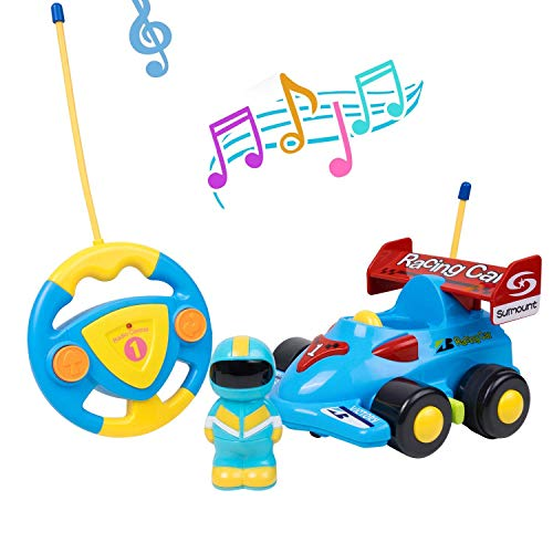 Cartoon Remote Control Car with Music and Lights,Kids Birthday Present,Electric Radio Control RC Race Car for Toddlers,Xmas Gift for Boys Girls (Racing car)