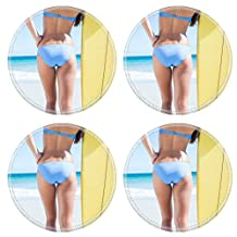 Luxlady Round Coasters Image ID: 44772909 Pretty blonde woman holding surf board at the beach