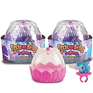 WowWee Pixie Belles Babies - Surprise Wearable Figures with Interactive Rings for Spinning - 2-Pack