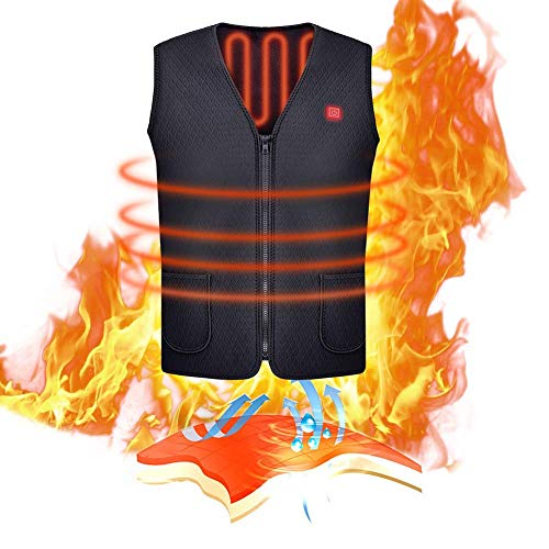 Fanxis USB Electric Heated Vest IP5 Waterproof Machine Washable Security Adjustable Temperature for Outdoor Hunting Hiking Camping,Cycling Skiing Fishing Golf (No Battery)