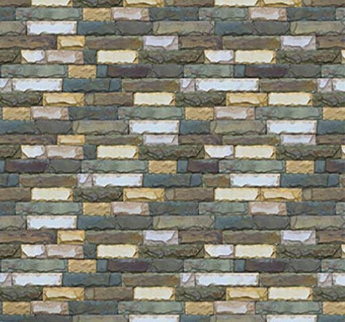 Akabsh_home 3DRustic Brick Stone Effect Wall Sticker,Self-Adhesive Home Decor Decals,Silk Wall Flower