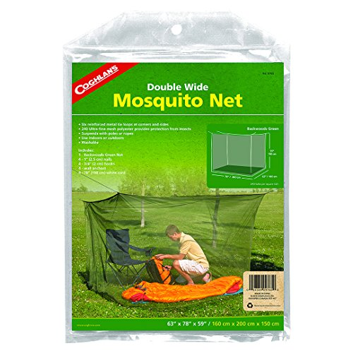Coghlan's Double Wide Rectangular Mosquito Net, Green - Essential Top Draped