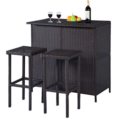 Rattan Wicker Bar Set Patio Outdoor Table & 2 Stools Furniture, Brown, Smooth Top is Convenient for Resting Drinks and Foods by AVA Furniture