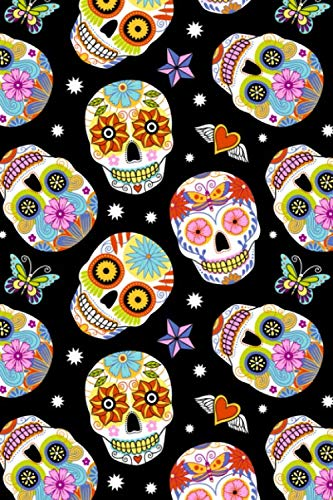 Day Of The Dead Pattern - Sugar Skull Santa Muerte 27: Blank Sketch Paper Notebook with frame for Day Of The Dead Lovers]()