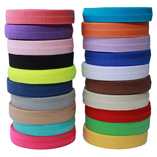 "Masokan Solid Color Sewing Fold Over Elastic Stretch FOE & Foldover FOE Trim Elastic Ribbon by The Yard for Hair Ties Headbands (5/8"" Wide, 1.5 cm Wide, 20 Yards, Mix 20 Colors)"