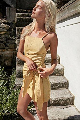 MeiZiZi Meizizivestido yellow De Vestido Noche Sólido De Casual Vestido Color rR1xBrq