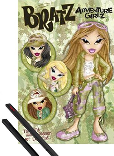 r: Bratz Poster (36x24 inches) Adventure Girls and 1 Set of Black Poster Hangers ()