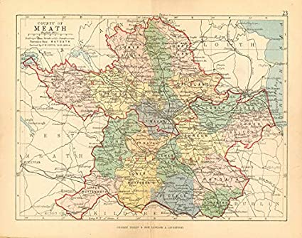 Map Of Ireland Leinster.Amazon Com County Meath Antique County Map Leinster Ireland