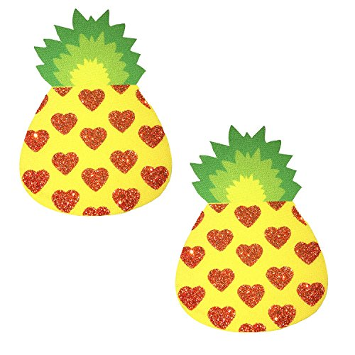 Neva Nude Pina Colada Pineapple Glitter Nipztix Pasties Nipple Covers - Tropical Spice Isle