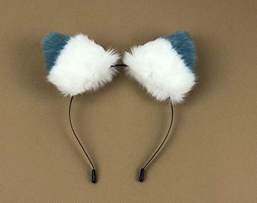 Happylifehere Long Fur Cat Fox Ears Headband Hairband Lolita Cosplay Costume Halloween Kitty Fancy Dress White with Lake Blue Tips for $<!--$12.99-->