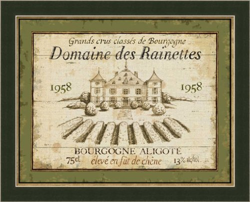 French Wine Label III by Daphne Brissonnet Vintage Style Sign Wall Art Print Framed Décor (Label Framed Wine)