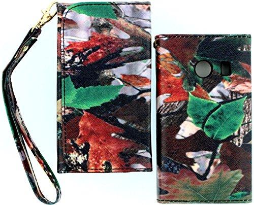 Wireless Fones TM Camo Leaf Branch Wallet Flip Hard Case Cov