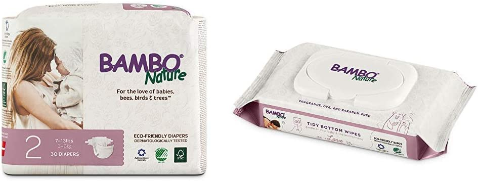 Bambo Nature Premium Baby Diapers, Size 2 (7-13 lbs), 30 Count with Bambo Nature Tidy Bottoms Baby Wipes 50 Sheets
