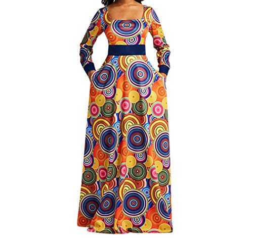 VERWIN Square Neck Print Long Sleeve High Waist Geometric Evening Dress Color Block Wrap Maxi Dress M
