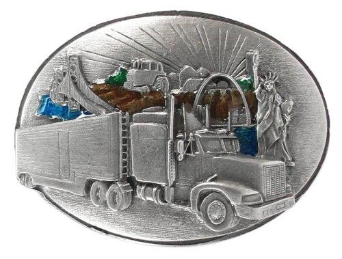 Pewter Belt Buckle Cross - Pewter Belt Buckle - Long Haul Trucker Cross Country