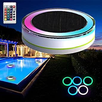 Amazon.com: Remote Control Solar Power LED Colorful Swimming ...