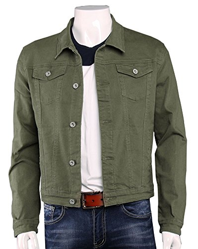 Plaid Cropped Jacket - Plaid&Plain Men's Cropped Classic Denim Trucker Jacket Casual Jean Jackets Green M