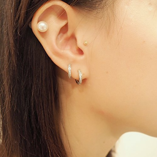 Yellow Gold Plated Sterling Silver Cubic Zirconia Huggie Hoop Earrings by Spoil Cupid (Image #3)