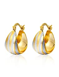 SKY ME SHOP_CA: Gold Earings Unique Mix Color Loop Earring 14K Gold/Silver Plated Two Tone Hoop EarringsStamp Jewelry