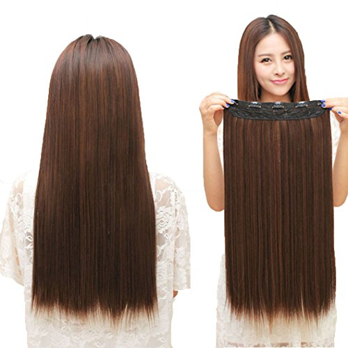 [DEESEE Long Straight Womens Lady One Piece 5 Clips Hair Wigs Party Cosplay wig (B)] (Costume Long Brown Hair)