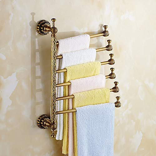 HYKENSOSNG Towel Racks Brass Wall Mount 3-6 Active Bars Rotate Rail Towel Holder Scarf Clothes Hanger Bathroom Shelf Home Decoration Antique 6 Layer