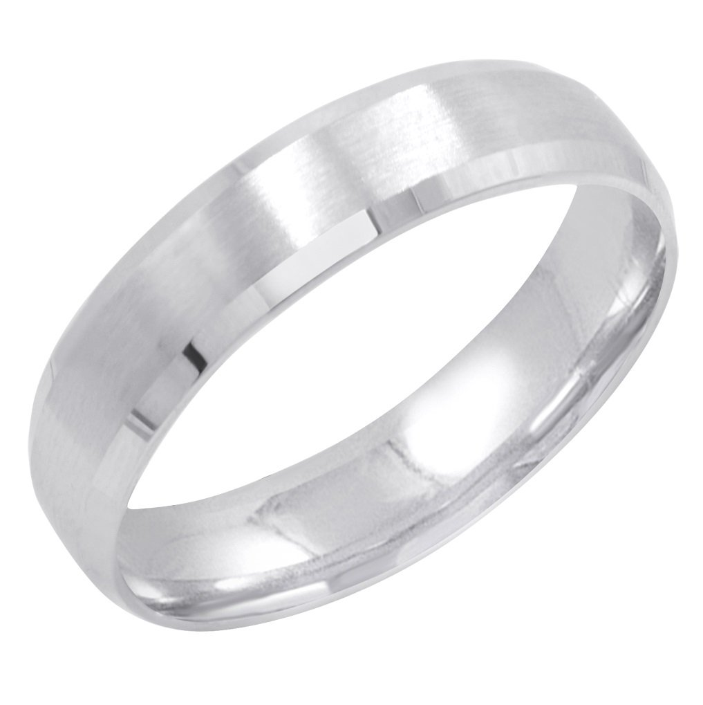 Men's 10K White Gold 5mm Comfort Fit Satin Finish Beveled Edge Wedding Band (Available Ring Sizes 8-12 1/2) Size 9.5 by Oxford Ivy (Image #3)