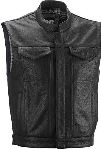 Highway 21 Magnum Men's Leather Motorcycle Vest W/Concealed Carry Pocket Black Size Large