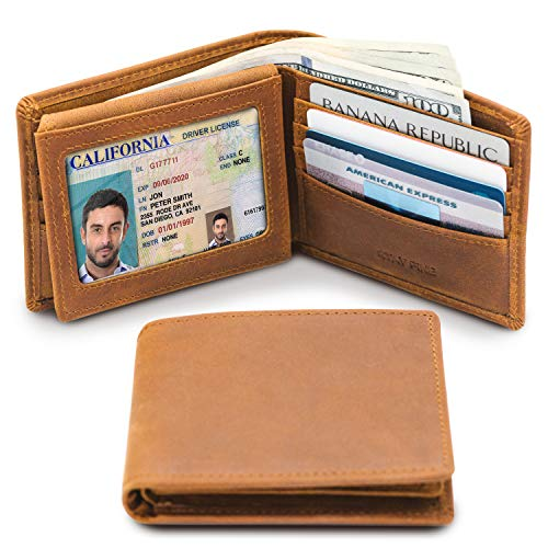 Mens Leather Slim Bifold Wallet | RFID Blocking with 2 ID Windows | By Stay Fine (Best Purse To Stay Organized)