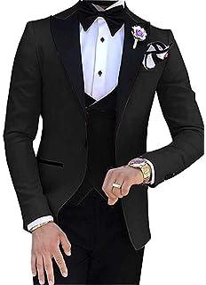 Amazon.com: botong Azul Marino novio tuxedos 3 piezas ...