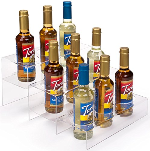 Displays2go Bottle Organizer with 3 Tiers, Acrylic, 9 Compartments – Clear Finish (ACBTLOSML9)