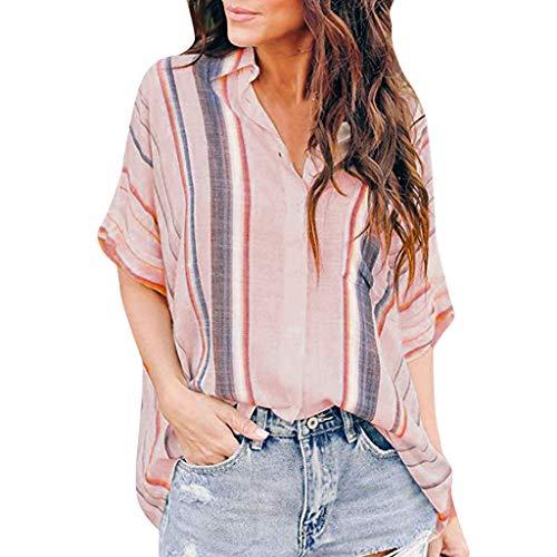- NCCIYAZ Womens T-Shirt Top Ethnic Boho Stripes Colour Block Print Plus Size Fashion Loose Button Ladies Oversized Blouse(L(12),Pink)