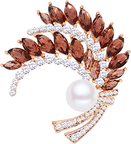 Gyn&Joy Circles Wedding Bouquet Wheat Brooch Pin In Crystal Rhinestone Pearl For Women&Girls BZ050 (grape purple)