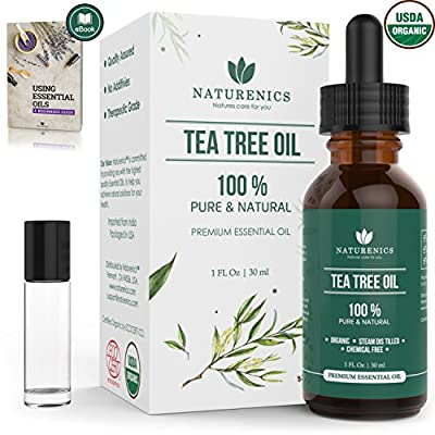 Naturenics Tea Tree Essential Oil | 100% USDA Organic Melaleuca Alternifolia Therapeutic Grade | Natures Solution For Acne, Lice, Toenail Fungus, Hair, Face,Skin Problems | Roll On & eBook - 1 Fl Oz