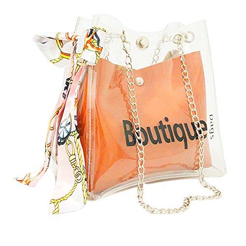 SOMESUN Sac à BandoulièRe éPaule De La Mode Des Femmes Transparentes Plage Provisions Occasionnel Boutique Sgad Messenger Transparent Lettre Foulard En Soie GeléE Marron