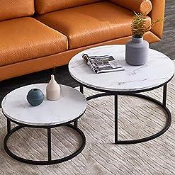 Living Room Modern Nesting Coffee Table Set for Living Room, Office, Balcony, Modern Round WoodAccent Coffee MDF Faux Marble… modern coffee tables
