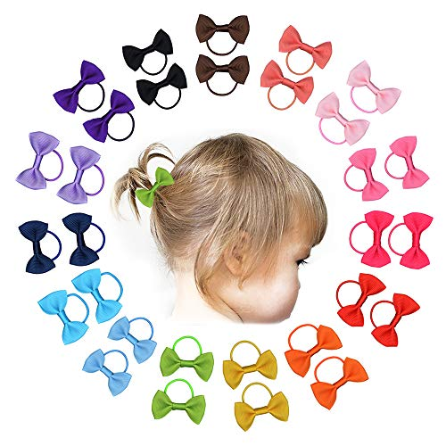 30 Piece Small Hair Bows With Elastic Loop Ponytail Bows Pony Tail Holder Baby Girls Hair Accessories