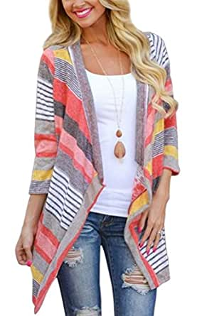 Sophiya Women's Striped Printed Cardigans 3/4 Sleeve Kimono Open Front Draped Knit Cardigan Sweaters - Red - Small