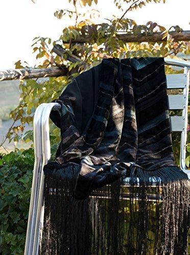 Elizabetta Fringed Black Silk Velvet Evening Wrap Shawl - Made in Italy