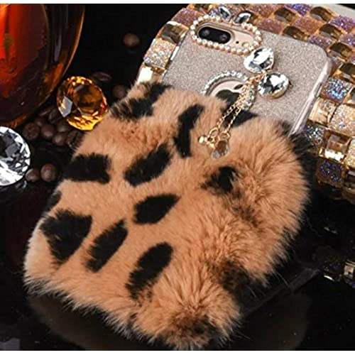 Galaxy S7 Edge Case, Shiny Bowknot Crystal Diamond Camera Hole Pendant, Fluffy Edgeh Wool Fur Rabbit Hair Cover, OMORRO Luxury Soft Villi Warmer Protect Sales
