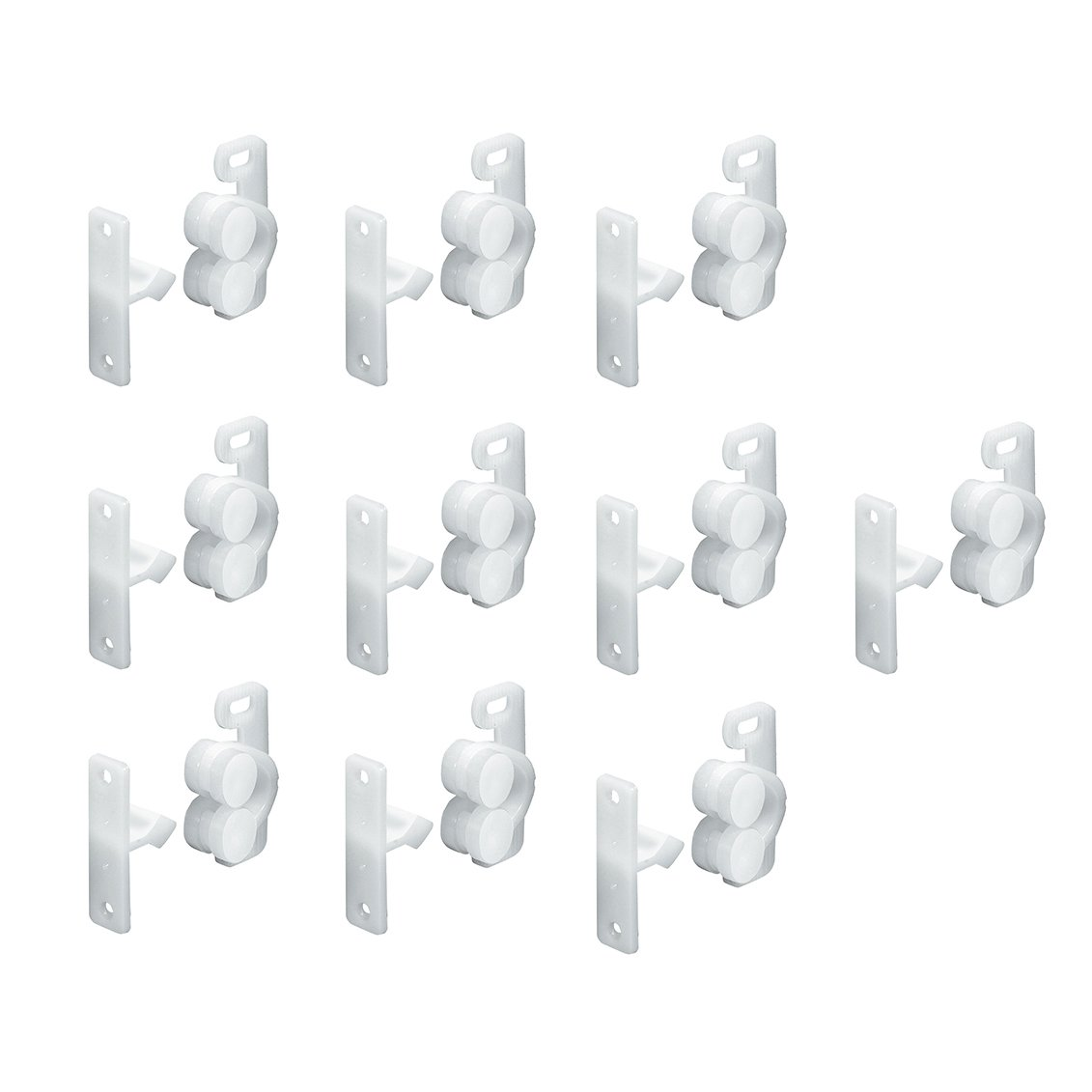 HAFELE Plastic Double Roller Cupboard Cabinet Door Catch with Plates and Screws for Home Furniture Silent Locks (10 Pcs) Häfele