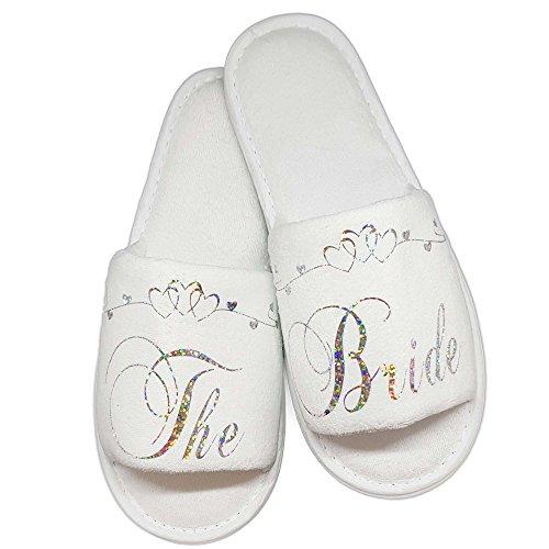Blanc pour Blanc Femme Chaussons Argenté Generic 1qP4twO