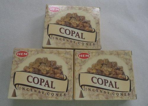 Hem Copal Incense Cones, 3 Packs of 10 Cones = 30 Cones