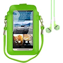 "Mini PU Leather Touch Screen Window Wallet Case for BLU Dash L3 / Grand M / Studio J5 / Tank Xtreme 4.0 / Alcatel A3 / U5 / Asus Zenfone Live 5"" + Vangoddy Earbud (Green / Green)"