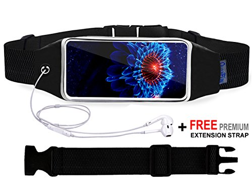 Running Belt Waist Pack for iPhone X / 8 / 8 Plus / 6/6s 7 Plus, Fanny Pack Sports Running Belts Workout Fitness Holder Pouch with Extension Strap for Galaxy s8 s7 Plus and All Cell phones