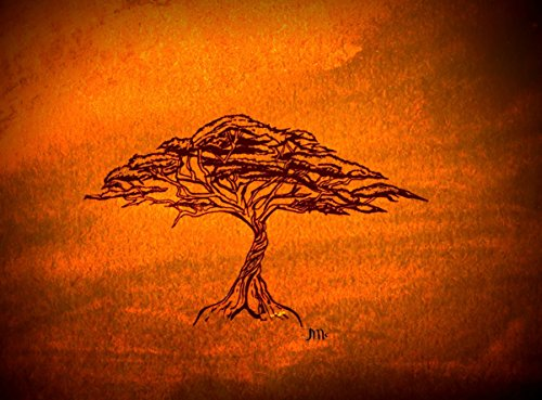 Gold Acacia Tree Print, African Art, African Print, Gold Gift, Gold Housewarming Gift, Gift Ideas, Holiday Gift Ideas, Wedding Gift, Trees, Acacia Tree of Life, Gold Paint, Black Tree Sketch