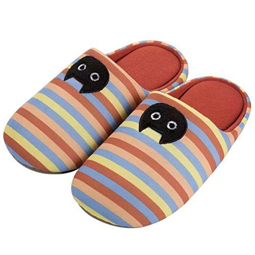 YUTIANHOME Slippers For Ladies Womens Cat Indoor Slip On Shoes cat-orange stripe