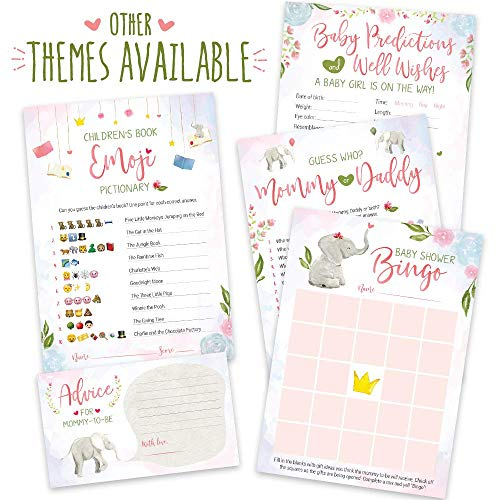 Baby Shower Games for Girls | Pink Elephant Theme | Pack of 5 Activities for 50 Guests, 5x7 Cards | Includes Baby Predictions, Baby Bingo, Emoji | Baby Girl Shower Favors Decorations Party Supplies -